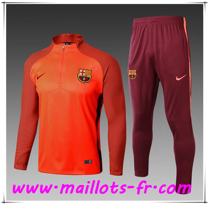 Maillots-fr Thailande Ensemble Survetement Foot FC Barcelone Enfant Orange Strike Drill 2017/2018