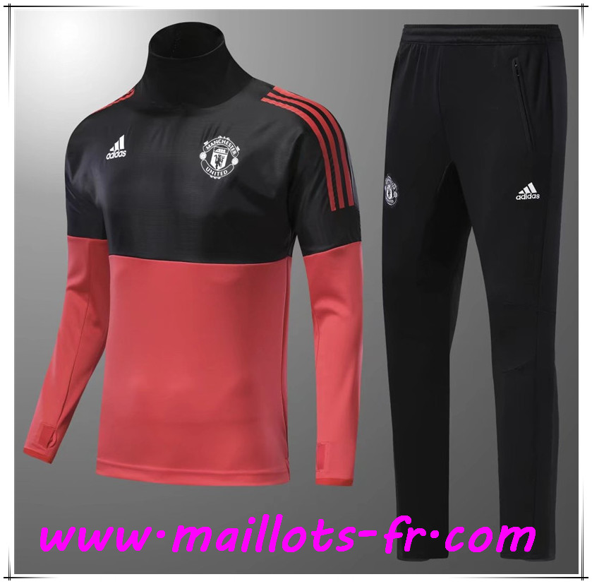 Maillots-fr Thailande Ensemble Survetement de Foot Manchester United Enfant Rouge/Noir 2017/2018