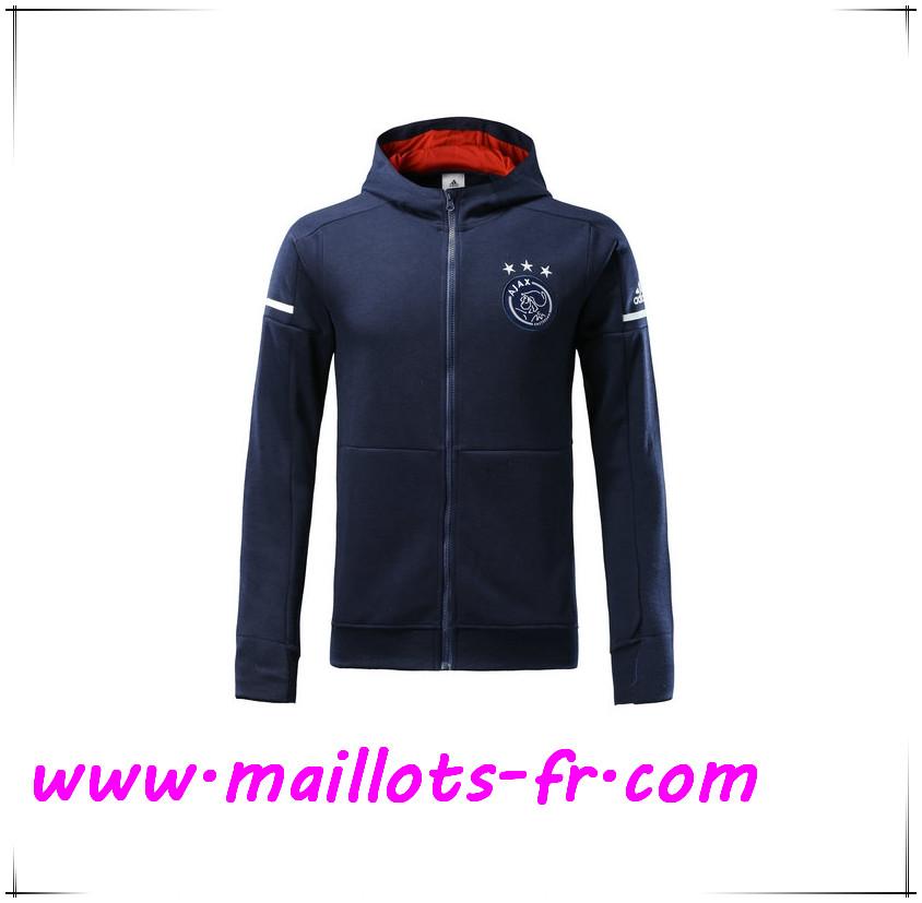 dernier Maillots fr Capuche Veste Foot AFC Ajax Bleu Marine