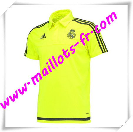 maillots-fr Maillot Polo Real Madrid Jaune 2016 2017 pas cher