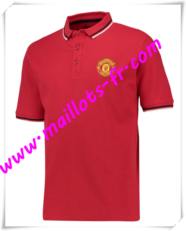 maillots-fr Maillot Polo Manchester United Rouge 2016 2017 pas cher
