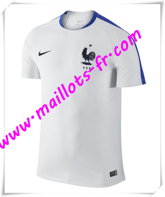 maillots-fr Maillot Training France Blanc PRE-MATCH 2016 2017 pas cher