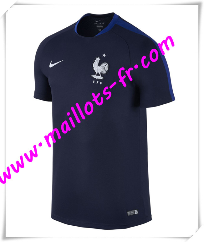 maillots-fr Maillot Training France Bleu Marine PRE-MATCH 2016 2017 pas cher