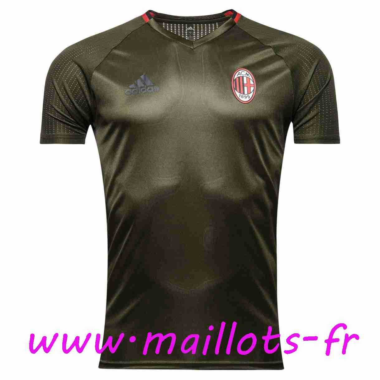 maillots-fr - Training T-Shirt Milan AC Gris Fonce 2016 2017