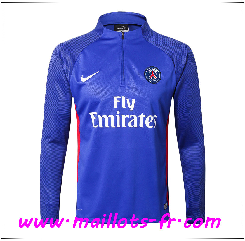maillots-fr nouveau Sweatshirt Training PSG Bleu Strike Drill 2017 2018