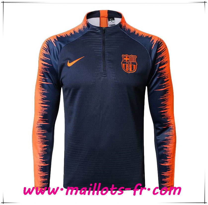 Maillots-fr nouveau Sweatshirt Training FC Barcelone Strike Drill Bleu Marine/Orange 2017/2018