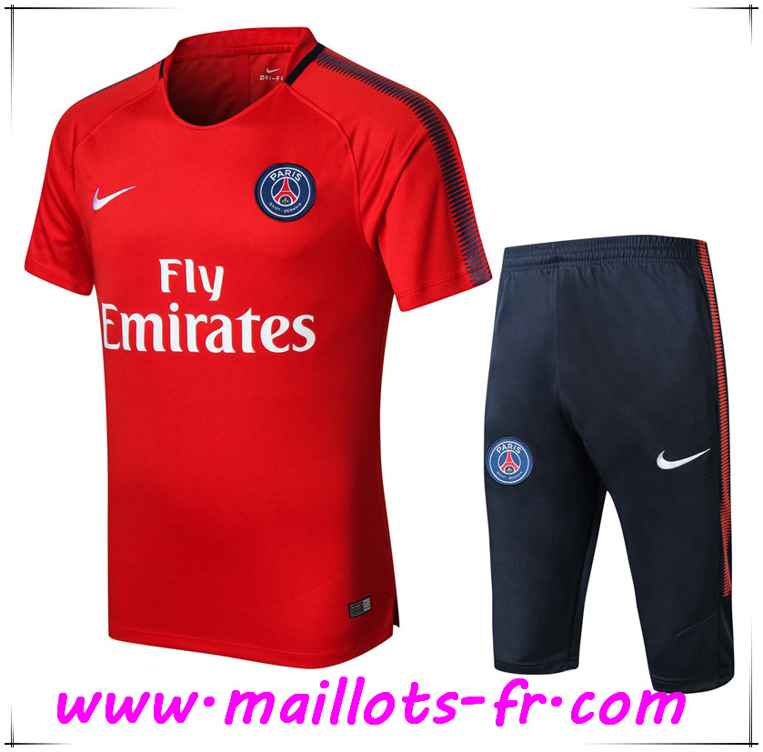 Maillots-fr Thailande Ensemble PRÉ MATCH Training PSG + Pantalon 3 4 Rouge 2017 2018