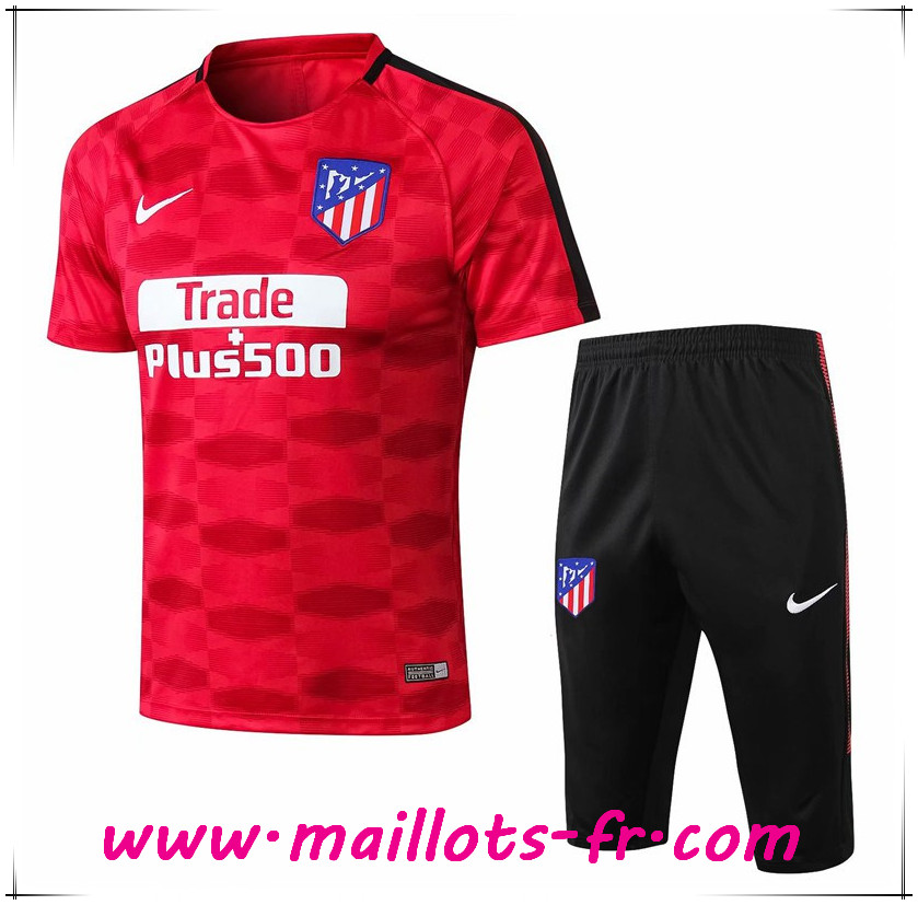Maillots-fr nouveau Ensemble PRÉ MATCH Training Atletico Madrid + Pantalon 3/4 Rouge Printing 2017/2018