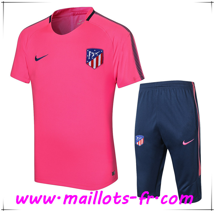 Maillots-fr Thailande Ensemble PRÉ MATCH Training Atletico Madrid + Pantalon 3 4 Rose 2017 2018