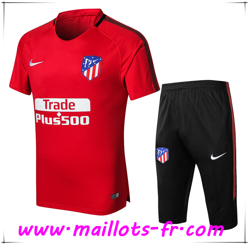 Maillots-fr Thailande Ensemble PRÉ MATCH Training Atletico Madrid + Pantalon 3 4 Rouge 2017 2018