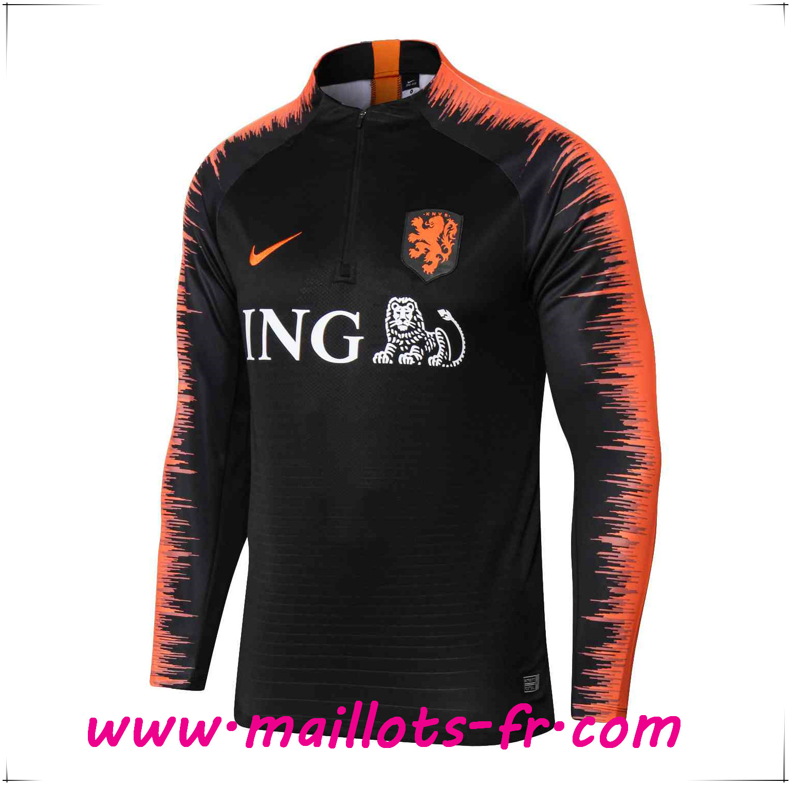 Maillots-fr nouveau Sweatshirt Training Pays-Bas Noir/Orange 2018/2019