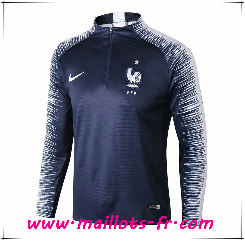 Maillots-fr nouveau Sweatshirt Training France Strike Drill Bleu Marine 2018/2019
