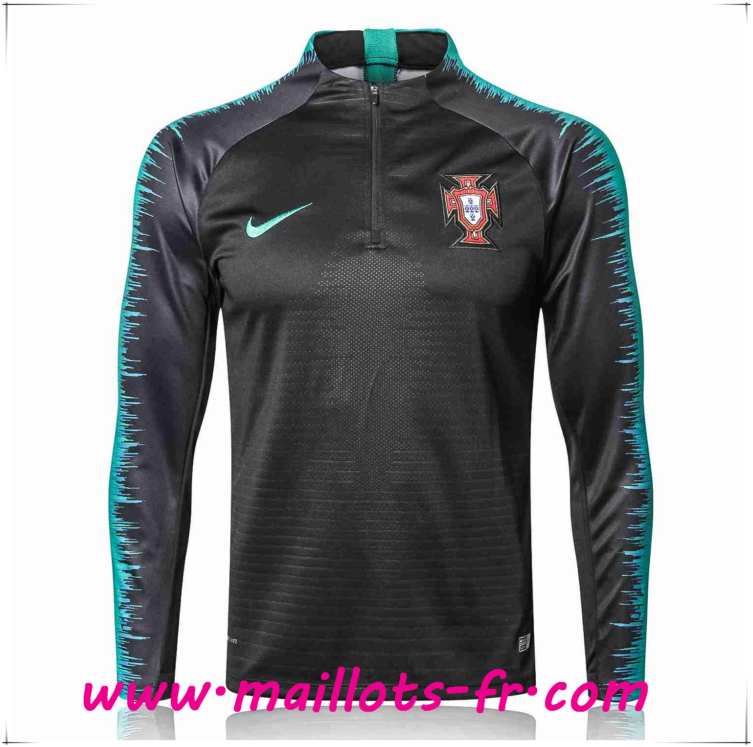 Maillots-fr nouveau Sweatshirt Training Portugal Strike Drill Noir 2018/2019