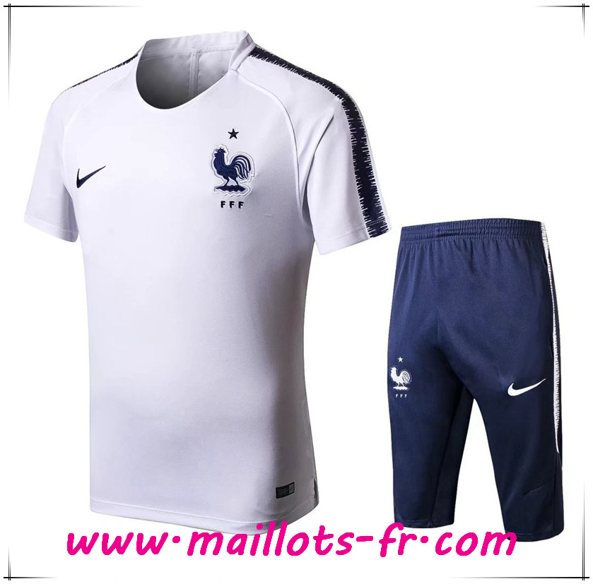 Maillots-fr nouveau Ensemble PRÉ MATCH Training France + Pantalon 3/4 Blanc 2018/2019
