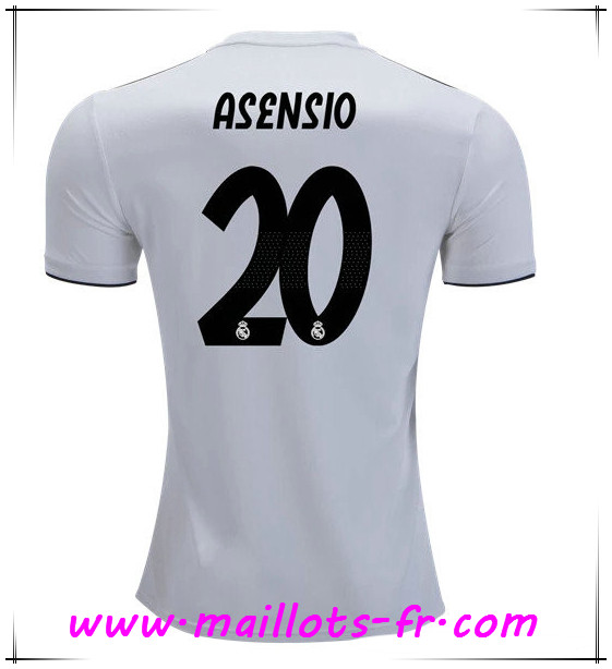 Maillots-fr nouveaux 2018 2019 Maillot de foot Real Madrid Domicile Blanc Asensio #20