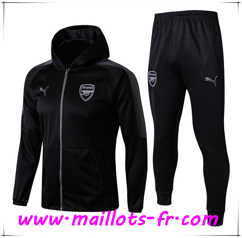 maillots-fr nouveau Sweat a Capuche Survetement Foot Arsenal Noir 2017 2018 Ensemble