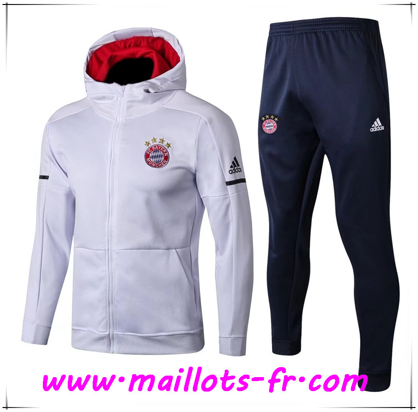 Maillots-fr nouveau Sweat a Capuche Survetement Foot Bayern Munich Blanc 2017/2018 Ensemble
