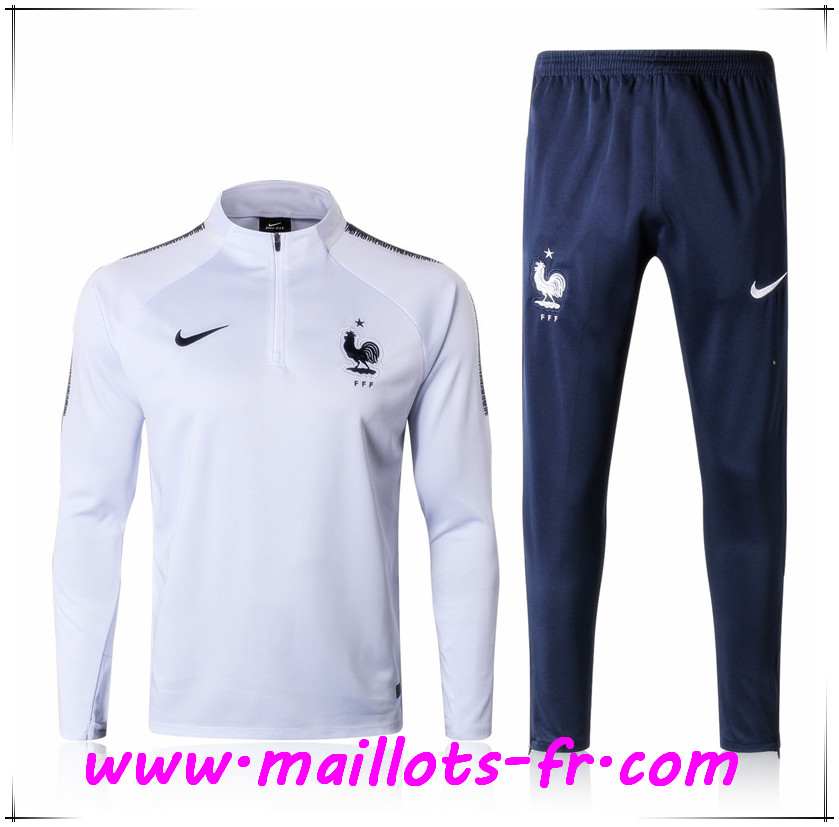 Maillots-fr nouveau Survetement de Foot France Blanc Ensemble 2017/2018