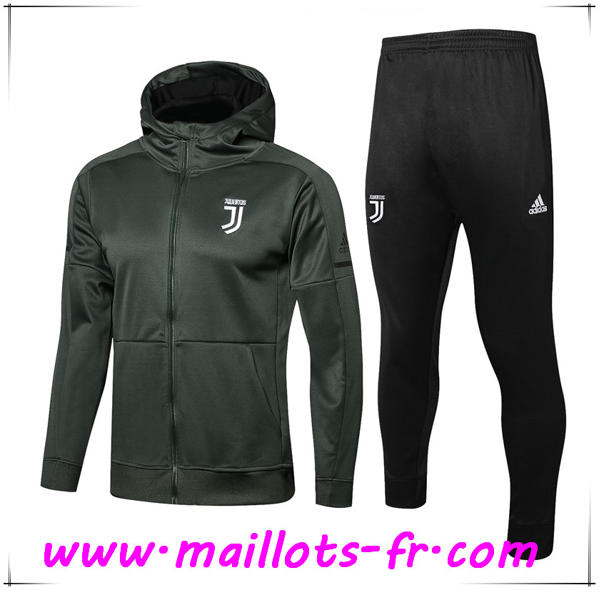 Maillots-fr Thailande Sweat a Capuche Survetement de Foot Juventus Vert Fonce 2017 2018 Ensemble