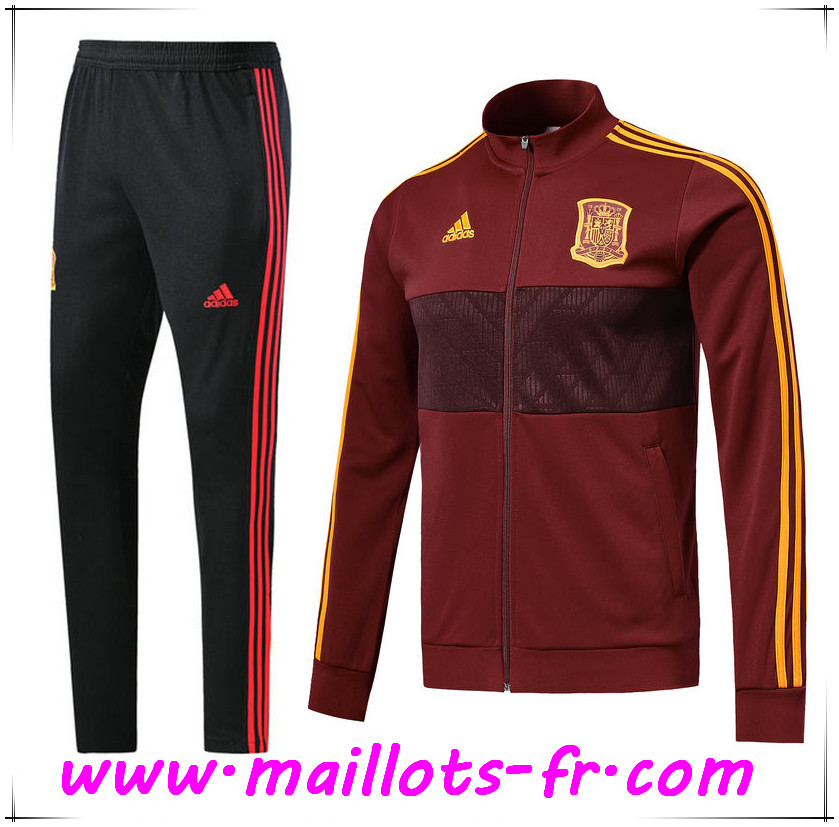 Maillots-fr Thailande Survetement de Foot - Veste Espagne Brown Ensemble 2018 2019