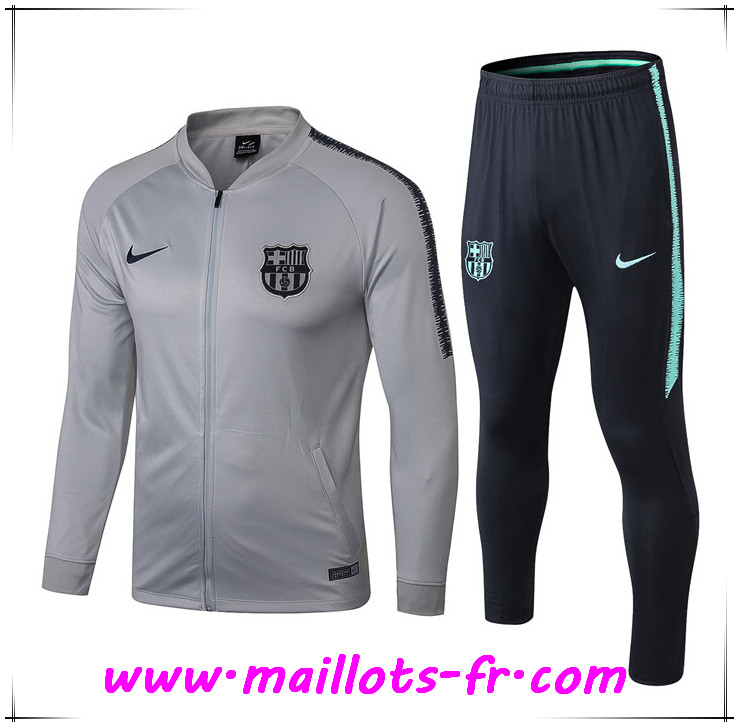 Maillots-fr nouveau Ensemble Survetement de Foot - Veste FC Barcelone Gris 2018/2019