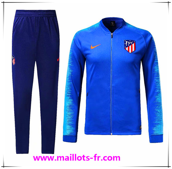 Maillots-fr nouveau Ensemble Survetement de Foot - Veste Atletico Madrid Bleu 2018/2019