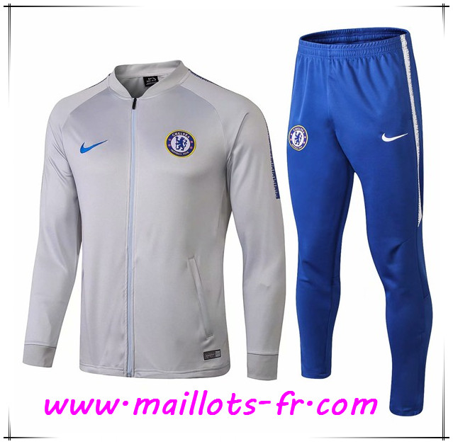 Maillots-fr Ensemble Survetement de Foot - Veste FC Chelsea Gris 2018/2019
