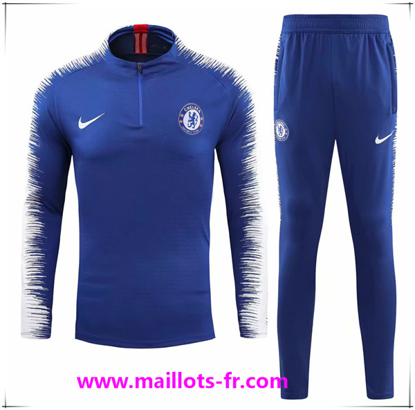 Maillots-fr nouveau Ensemble Survetement de Foot Chelsea Blue 2018/2019