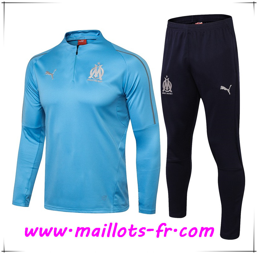 Maillots-fr Ensemble Survetement de Foot Marseille OM Bleu 2018/2019