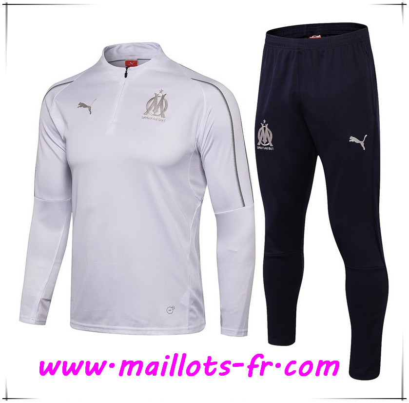 Maillots-fr Ensemble Survetement de Foot Marseille OM Blanc 2018/2019