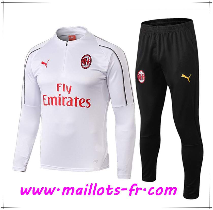 Maillots-fr Ensemble Survetement de Foot Milan AC Blanc 2018/2019