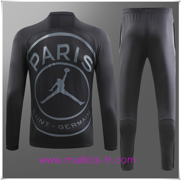 Maillots-fr Ensemble Survetement de Foot - Veste Jordan PSG Big paris Noir 2018/2019