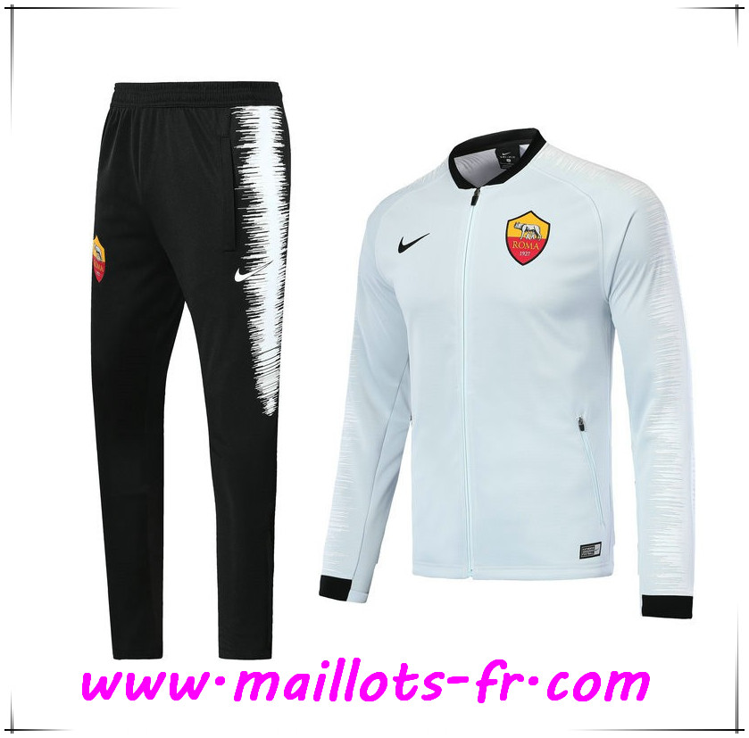 Maillots-fr nouveau Ensemble Survetement de Foot - Veste AS Rome Blanc 2018/2019
