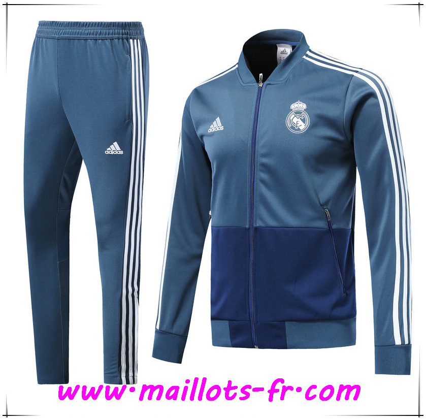 Maillots-fr Ensemble Survetement de Foot - Veste Real Madrid Bleu Fonce 2018-2019