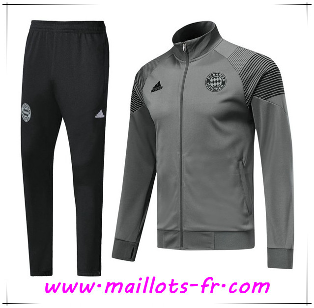 Maillots-fr nouveau Ensemble Survetement de Foot - Veste Bayern Munich Gris 2018 2019
