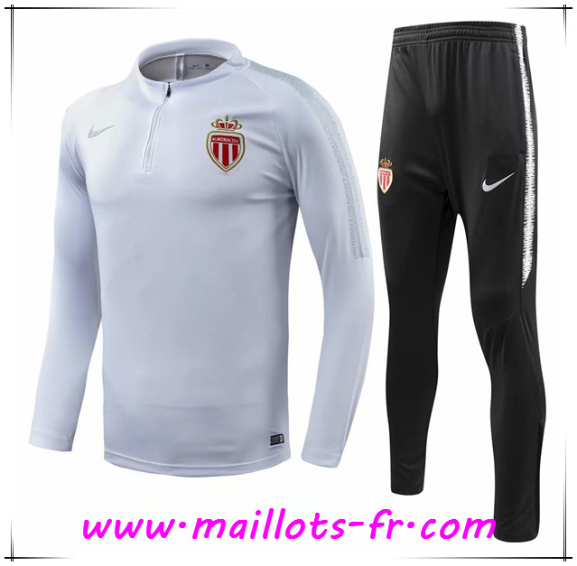 Maillots-fr nouveau Ensemble Survetement de Foot AS Monaco Blanc 2018 2019