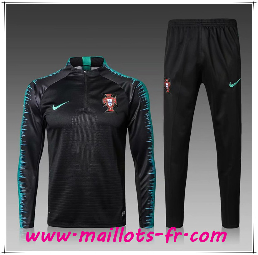 Maillots-fr nouveau Ensemble Survetement de Foot Portugal Enfant Noir Strike Drill 2018/2019