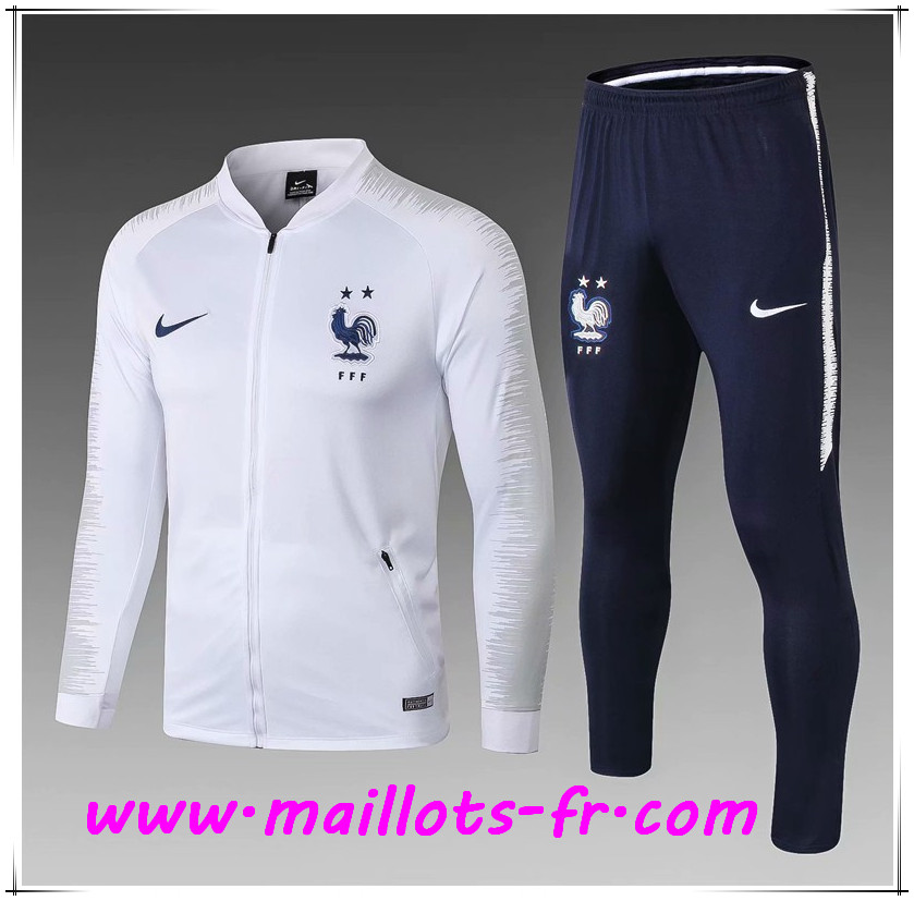 Maillots-fr Ensemble Survetement de Foot - Veste France Enfant 2 Enfant Blanc 2018/2019