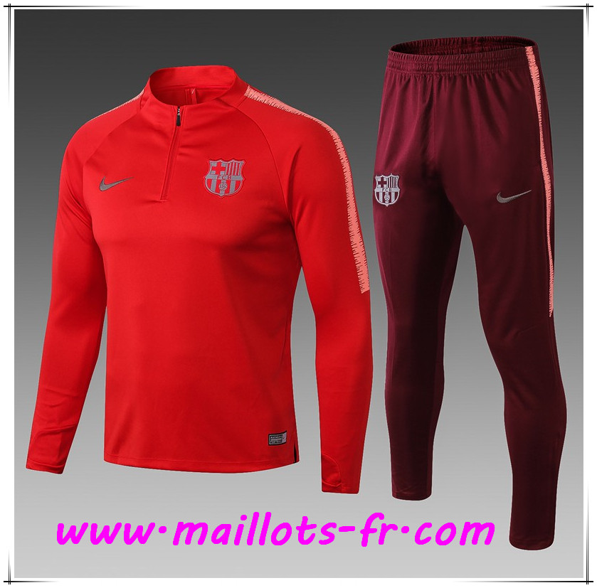 Maillots-fr Ensemble Survetement de Foot FC Barcelone Enfant Rouge 2018/2019
