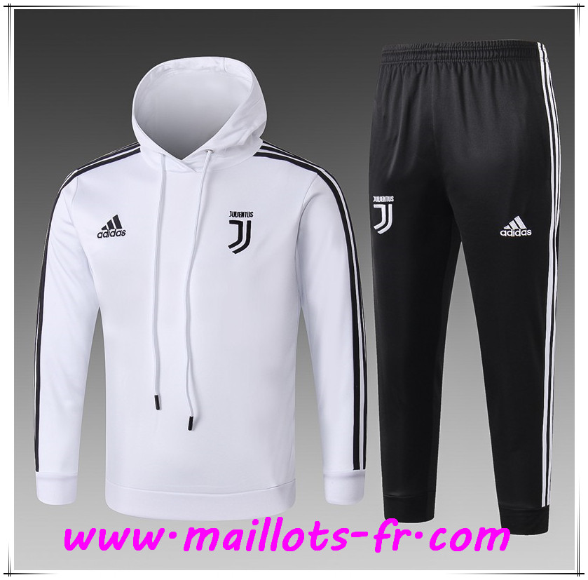 9a0f952b44d Maillots-fr nouveau Ensemble Sweat A Capuche Survetement Juventus Enfant  Blanc 2018 2019
