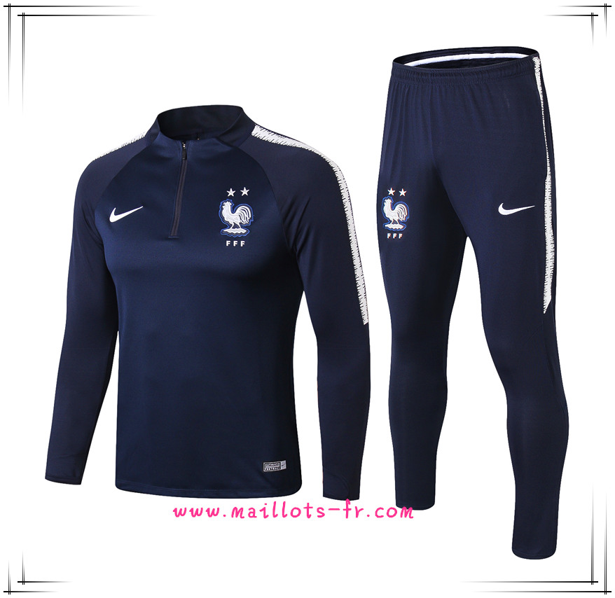 Maillots-fr 2 étoiles Survetement Foot France Bleu Marine/Blanc Ensemble 2018
