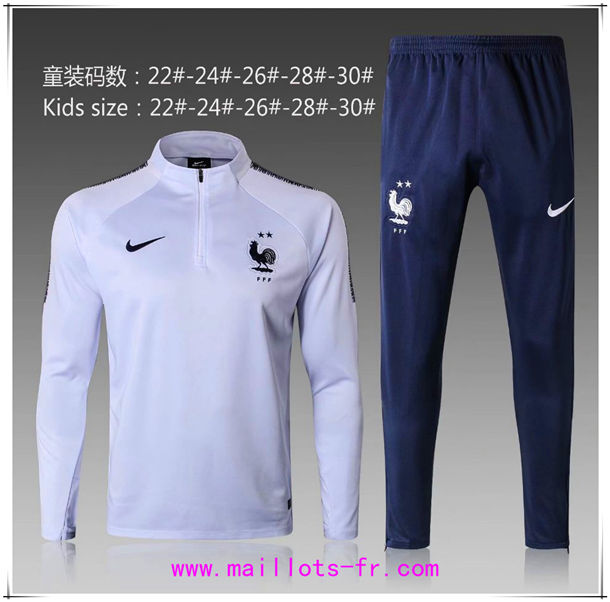 Maillots-fr 2 étoiles Survetement Foot Enfant France Blanc Ensemble 2018