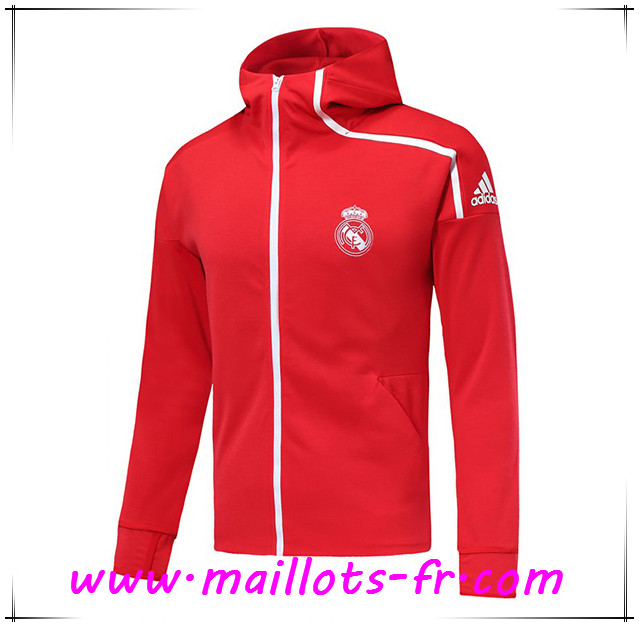 Maillots-fr nouveau Veste Foot Coupe Vent Real Madrid Rouge 2018/2019