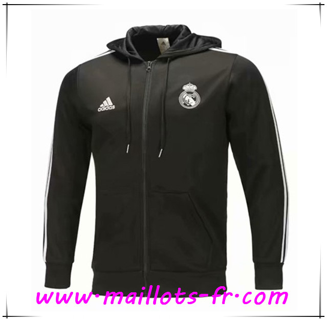 Maillots-fr nouveau Veste Foot Sweat A Capuche Real Madrid Noir 2018/2019