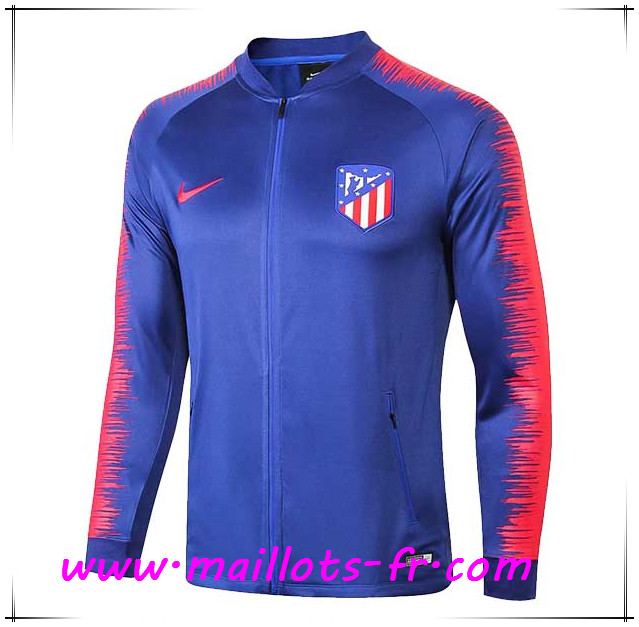 Maillots-fr Veste Foot Atletico Madrid Bleu/Rouge 2018/2019