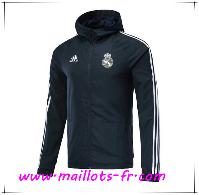 Maillots-fr Veste Foot Coupe Vent Real Madrid Dark Gray 2018/2019