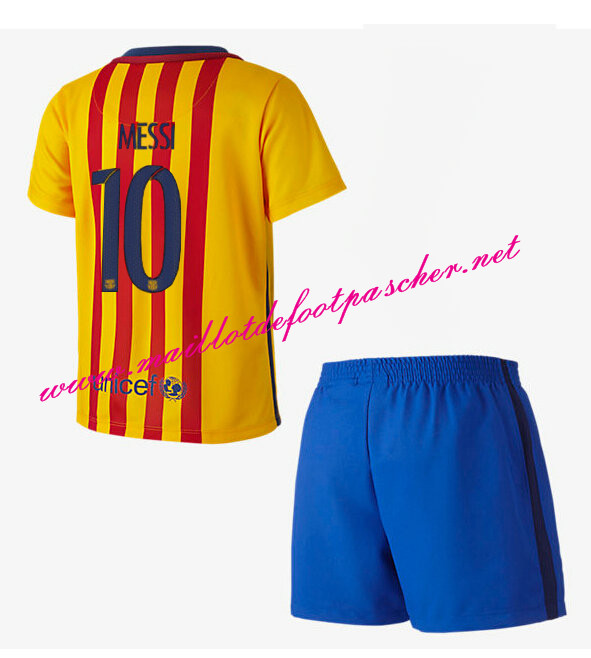 nouveau maillot de foot barcelona enfant exterieur 2015 2016 10 messi pas cher. Black Bedroom Furniture Sets. Home Design Ideas
