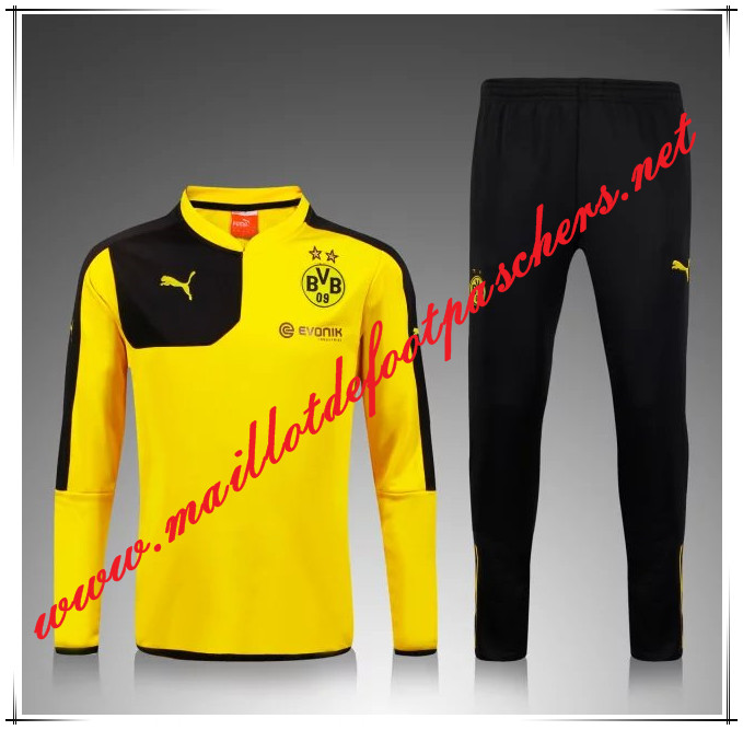 Officiel Nouveau Survetement de foot Dortmund BVB Jaune 2015 2016 -02