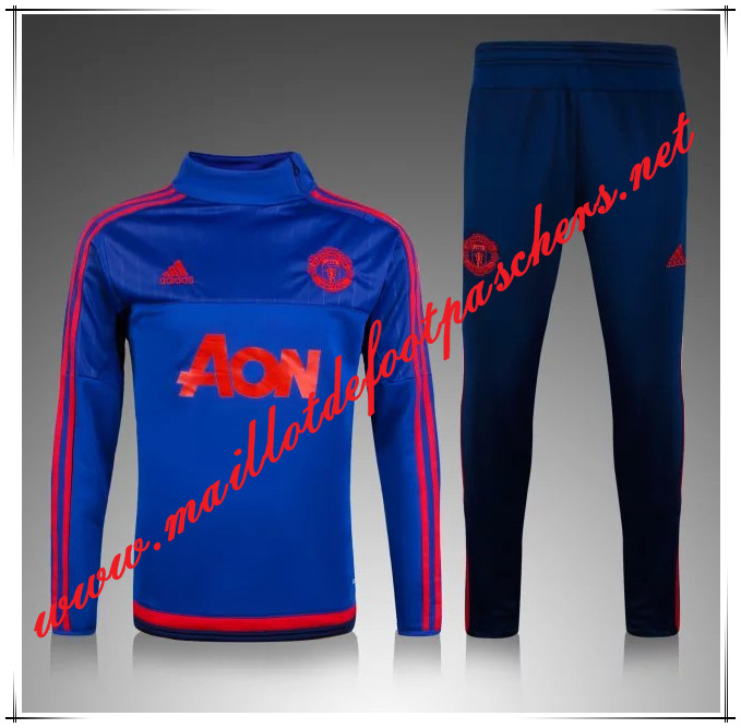 Officiel Nouveau Survetement de foot Manchester United Le Bleu Marine 2015 2016