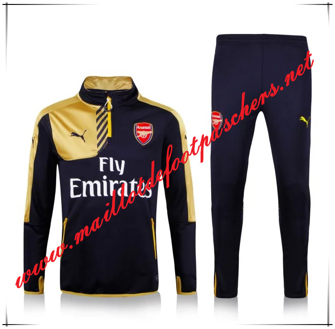 Officiel Nouveau Survetement de foot Arsenal Jaune/Noir 2015 2016